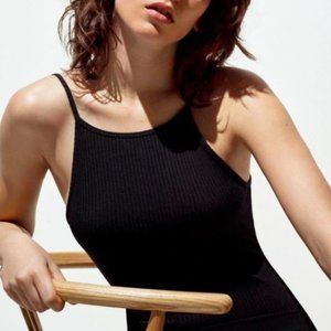 Aritzia Wilfred Annecy Small Black Ribbed Sleeveless Square Neck Thong Bodysuit